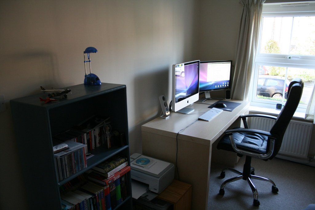 Bedroom - Desk, Chair, and CDs / Books | My desk, printer, a… | Flickr
