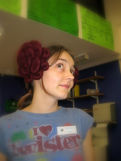 Mel modelling Jo's felted Princess Leia hair clips | by ::Christine::