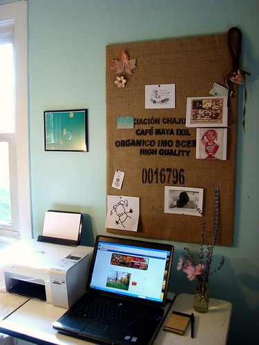 coffee sack inspiration/cork board | by mayalu