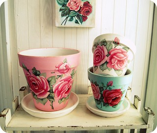 Everything's Rosey hand painted flower pots by Everyday is a Holiday | by holiday_jenny