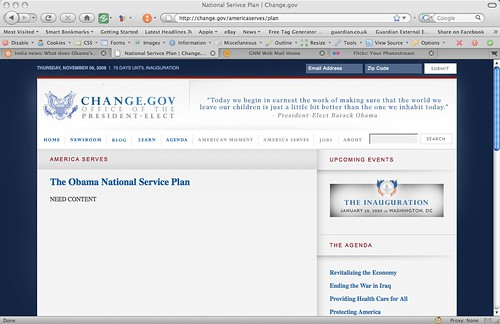 Obama-Biden change.gov holding page for Service Plan | by Kevglobal