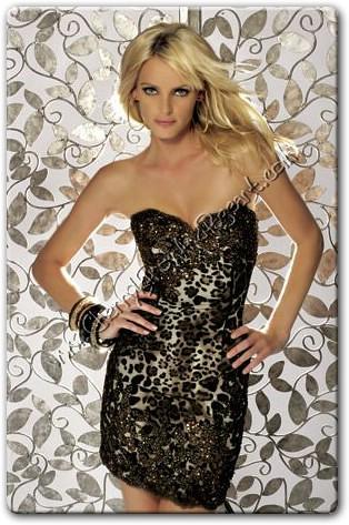 Short- Strapless Jovani Cocktail Dress in Hot Leopard Prin… - Flickr