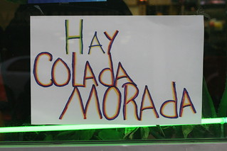 Colada morada sign at Milagro Ecuatoriano Restaurant, Union City, New Jersey | by Eating In Translation