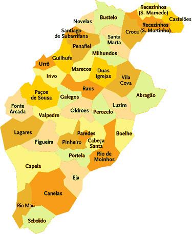 mapa penafiel portugal Concelho de Penafiel   Portugal | Mapa das freguesias | Jorge  mapa penafiel portugal