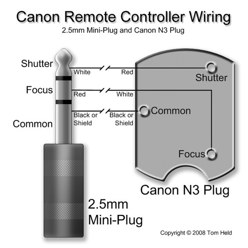 Canon Remote Controller Wiring 2 5mm Mini Plug And N3 Plu