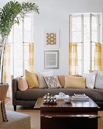 Yellow Walls Living Room Black Tiles