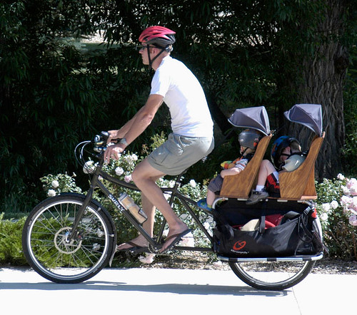 Xtracycle Cargo Bike With Two Kids And Partially Loaded Ba