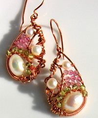 Wire Wrapped Pearl Teardrops | by tangocatgems1