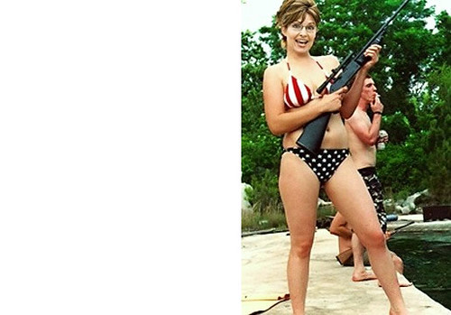 bikini and gun Palin