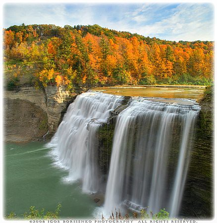 New York Prime >> Autumn Silky Waterfall Paradise HDR Letchworth State Park ...