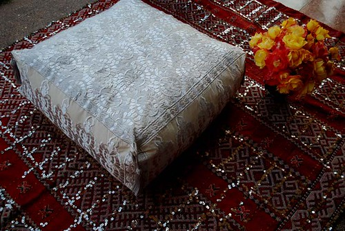 moroccan pouf on sequined kilim moroccan pouf made in eve flickr. Black Bedroom Furniture Sets. Home Design Ideas