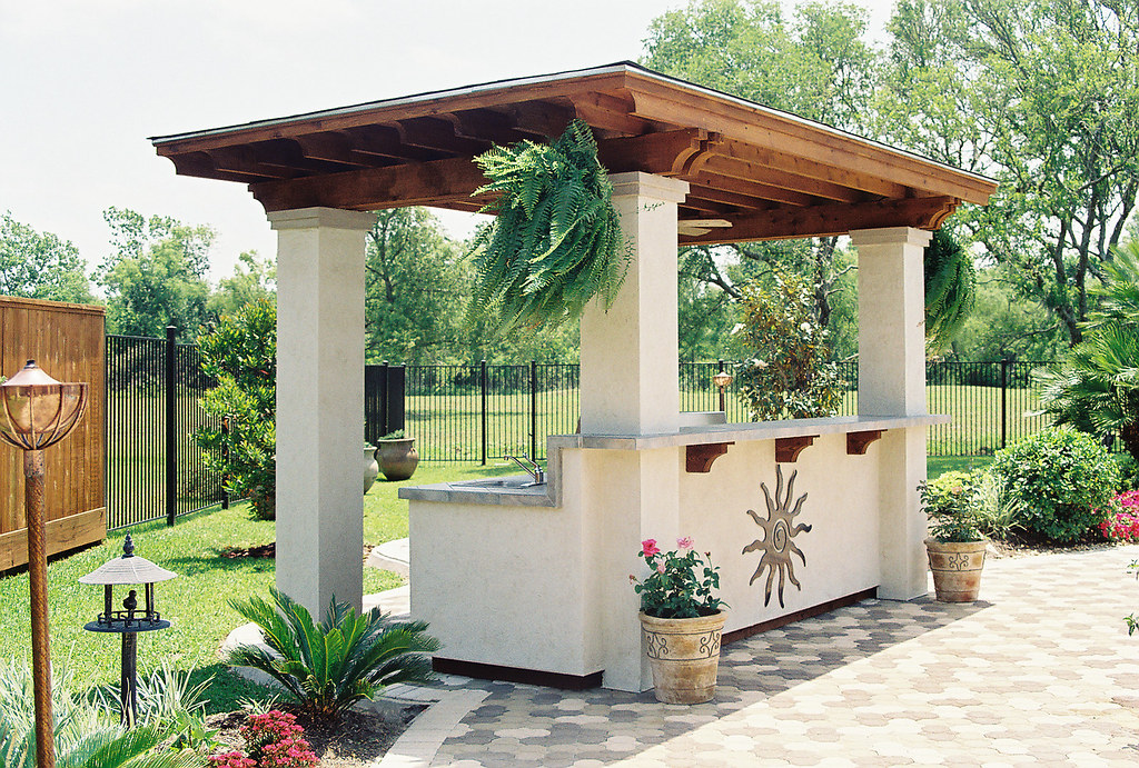 Outdoor Kitchen And Pavers With Stucco 6 By Wood Crafters