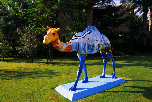 This Painted Camel Sculpture On The Grounds Of The Madinat
