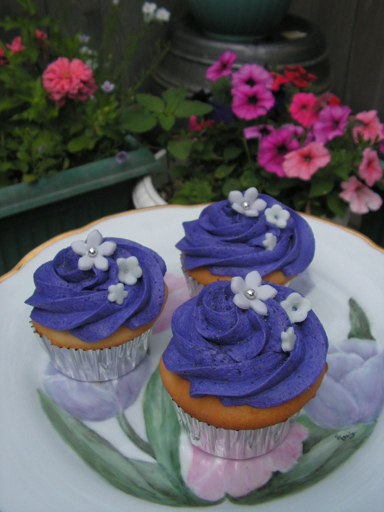 Purple Wedding Cupcakes Close Up