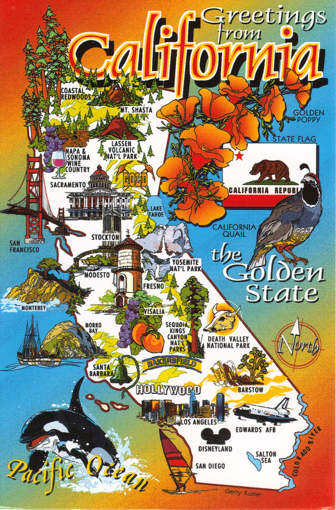 California State Cartoon Map Postcard | Show The Map Card Yo… | Flickr