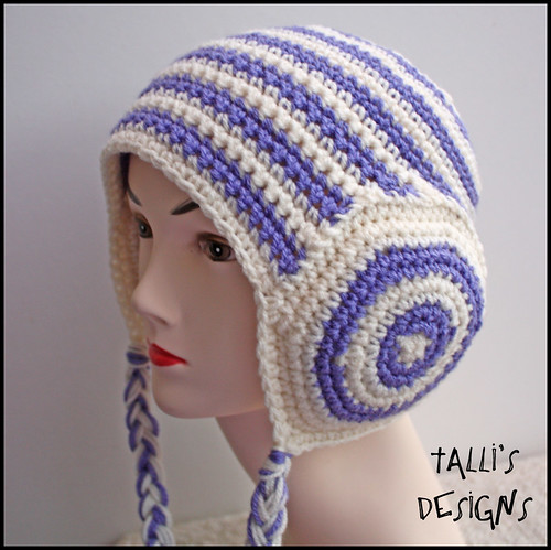 Leia Earmuffs Beanie - Lilac and Cream | by tsukismama