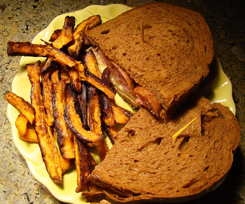 Yve's Bratwurst on Rye with Cajun Yam Fries by norwichnuts | by Vegan Feast Catering