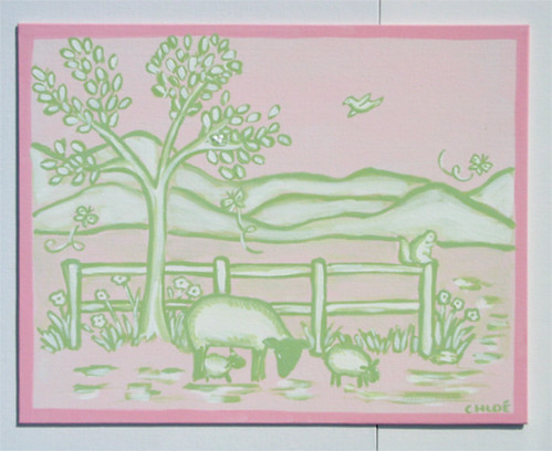 Lamb Toile Painting #3 | by 2artsisters