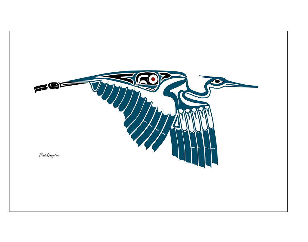 Great Blue Heron 3014002 Haida Point Nw Style Art Drawn On Flickr
