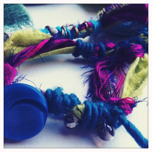 hand dyed fabric & thai silk pieces for my new jewelry collection | by treiCdesigns