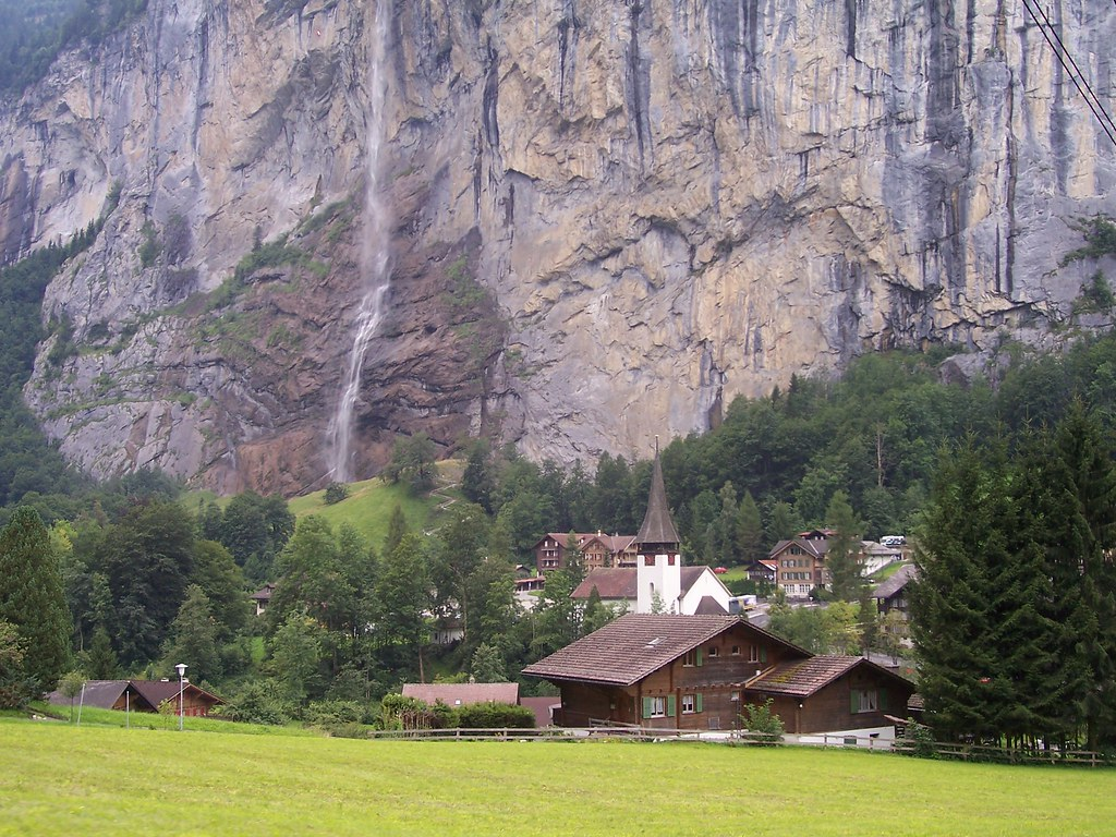 Staubbach Falls and Lauterbrunnen