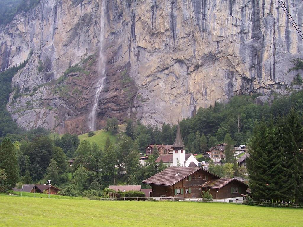 Staubbach Falls and Lauterbrunnen