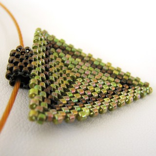 Olive and Bronze Peyote Triangle Choker (2243) | by Sand Fibers
