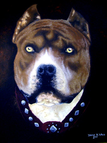 "Pitbull Painting ""Diablo""  by Denise A. Wells 