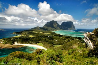 Looking Back to Mt Lidgbird and Mt Gower over Neds Beach and Coral Lagoon from Malabar Hill,Lord Howe Island,Australia | by Black Diamond Images