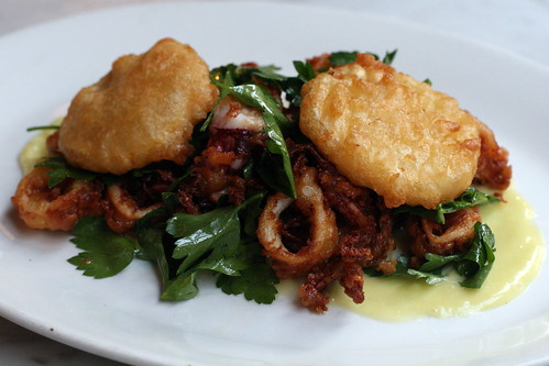Fried meyer lemon and Rhode Island squid at Hundred Acres, MacDougal Street, New York | by Eating In Translation