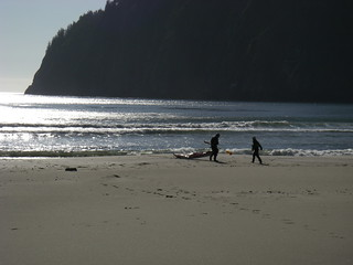 kayakers on the beach | by red alder ranch