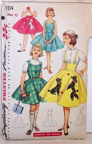 Vintage Simplicity Pattern 1704 Full Poodle Skirt Rockabilly Dress Jumper 50s Size 12 Girls