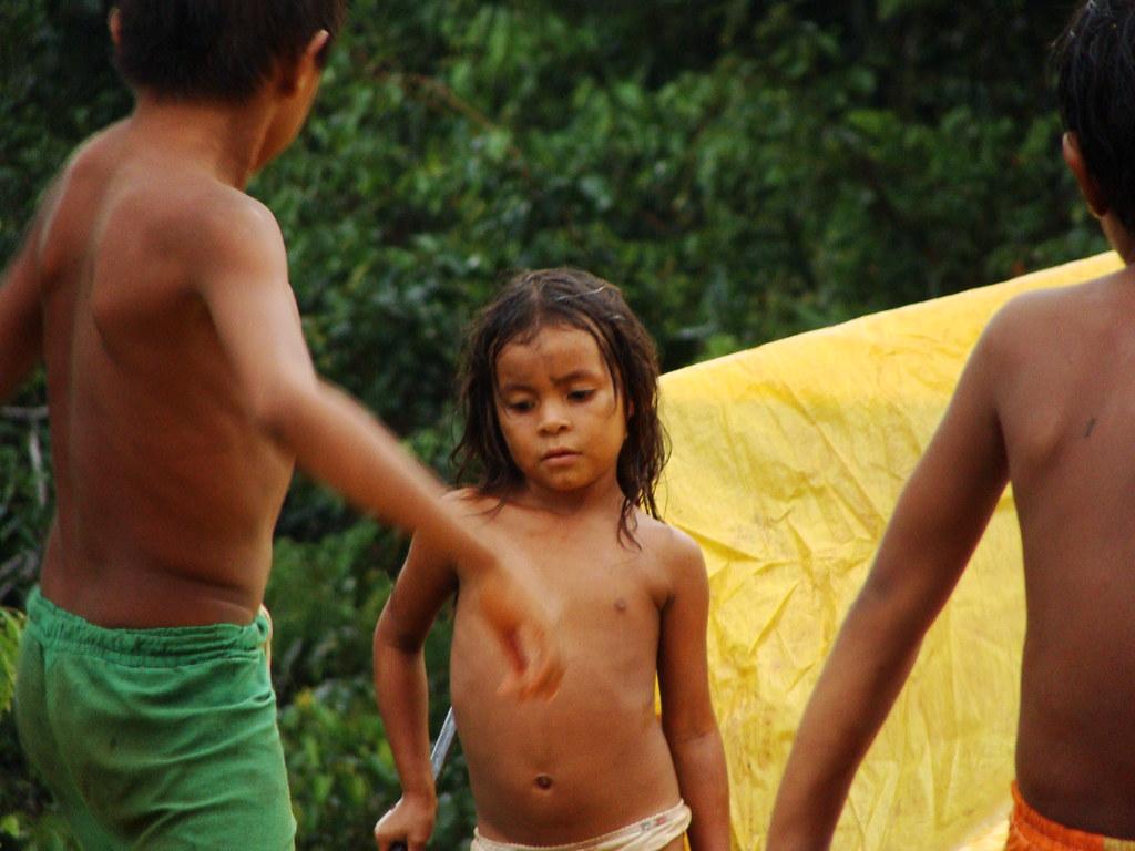 Tribal Children In The Amazon Rainforest