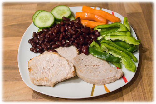 pork, paprika, kidney beans, carrots and cucumber | by viZZZual.com