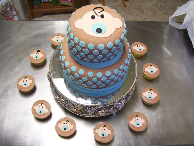 Baby Shower Food - Cute Baby Cake and Cupcakes