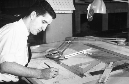 Engineer Working On Plans For Lake Union Area Circa 1960s