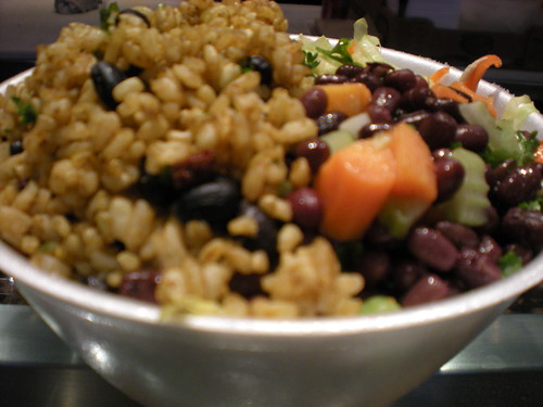 Rice, beans and veggies | by veganbackpacker