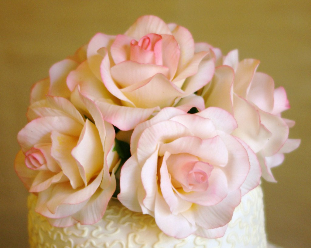 Pink Sugar Roses On Top Of Cornelli Lace Wedding Cake Flickr