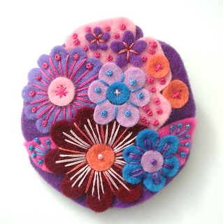 POCKETFUL OF POSIES FELT BROOCH - HAND EMBROIDERED | by APPLIQUE-designedbyjane