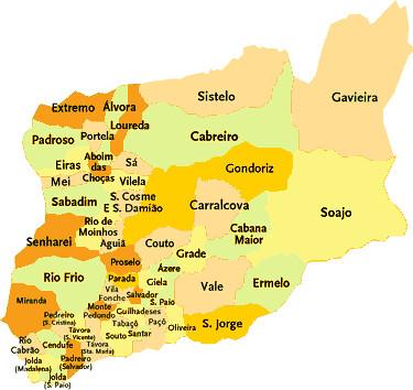 arcos de valdevez mapa Concelho de Arcos de Valdevez   Portugal   Mapa de freguesia  arcos de valdevez mapa