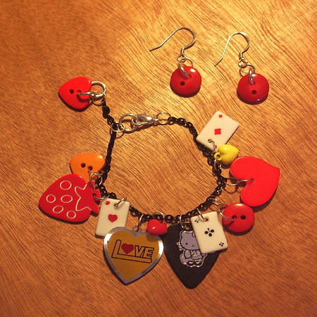 Ruby Red Vintage Button Earrings & Love2GoGo Charm Bracelet - by Ruby Red Studios & Ruby2GoGo | by WheresBeckybean