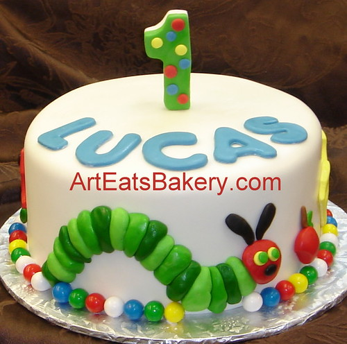 Family Food And Fun First Birthday Cake: The Very Hungery Caterpiler Custom Fondant First Birthday