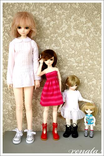 My BJD sizes (comparison) | Noella: 60cm Cara: 43cm Lati Gre… | Flickr