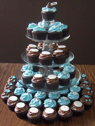 60th Birthday Cupcake Tower 4 Dozen Chocolate Cupcakes