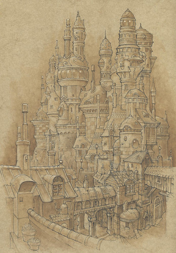 Charity City - The upper part of Charity where the rich and successful live and Jak and Peet can only visit. The higher the tower, the higher the status of its occupants. | by widdershins3