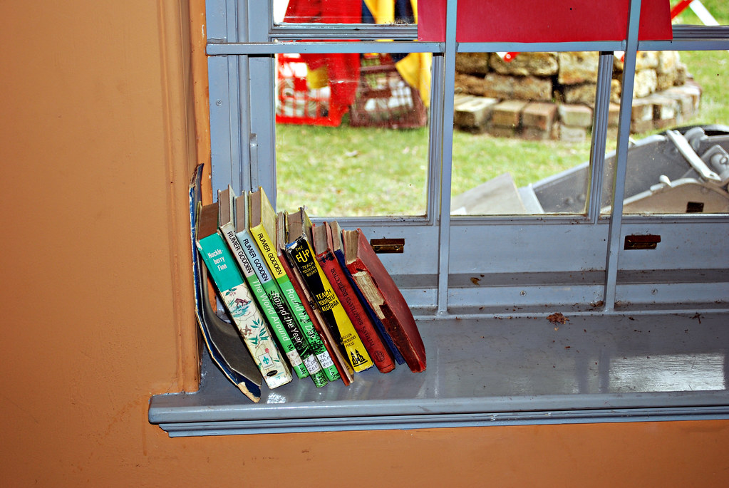 Windowsill Bookshelf In Old Classroom