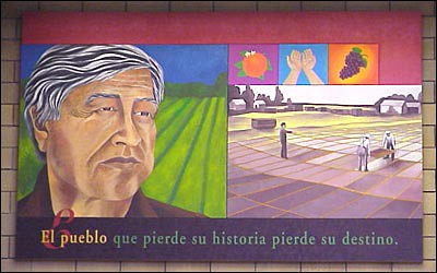 Mural art of cesar chavez at biblioteca latinoamericana for Cesar chavez mural