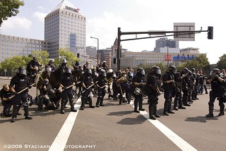 Police in riot gear along protest route | by The UpTake