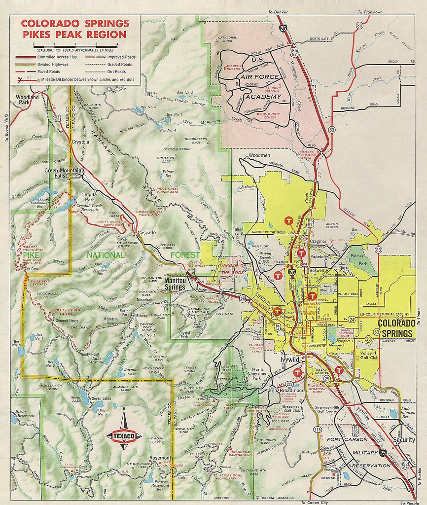Inset map of Colorado Springs area 1970 Scanned from 1970 Flickr