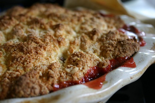Bubbling rhubarb strawberry cobbler | by Lelonopo